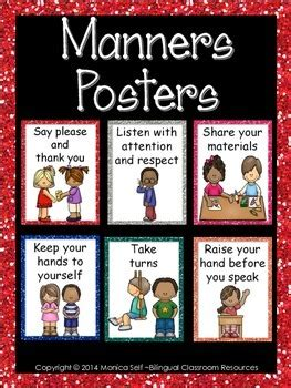 Good Manners Posters by Bilingual Classroom Resources | TpT