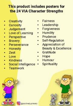 Character Strengths Posters for Kids -Positive Psychology